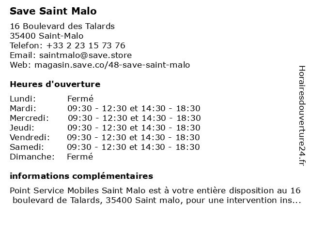 Save Saint Malo à Saint-Malo: adresse et heures d'ouverture