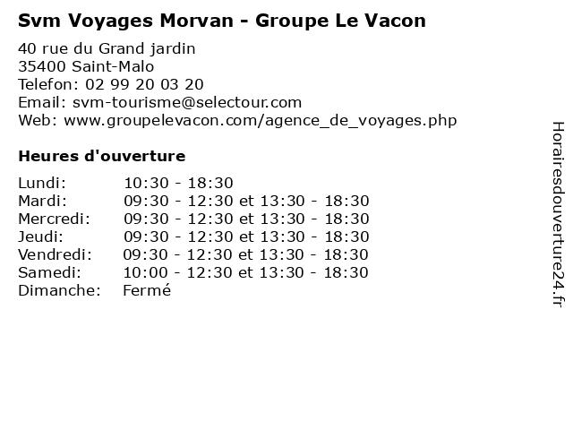 Svm Voyages Morvan - Groupe Le Vacon à Saint-Malo: adresse et heures d'ouverture