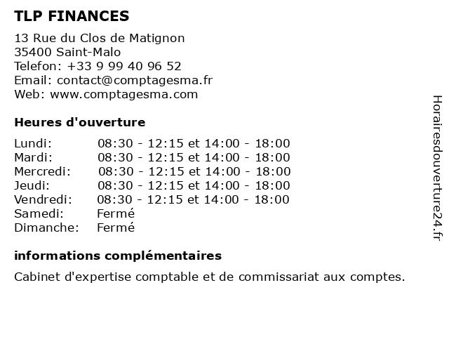 TLP FINANCES à Saint-Malo: adresse et heures d'ouverture