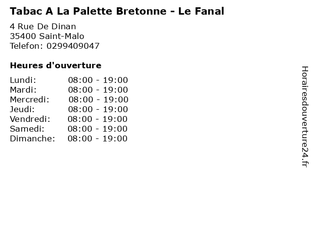 Tabac A La Palette Bretonne - Le Fanal à Saint-Malo: adresse et heures d'ouverture