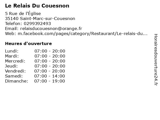 Le Relais Du Couesnon à Saint-Marc-sur-Couesnon: adresse et heures d'ouverture
