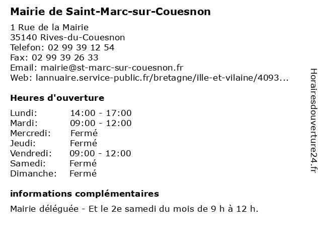 Mairie de Saint-Marc-sur-Couesnon à Saint-Marc-sur-Couesnon: adresse et heures d'ouverture