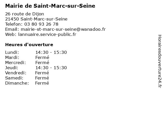 Mairie de Saint-Marc-sur-Seine à Saint-Marc-sur-Seine: adresse et heures d'ouverture