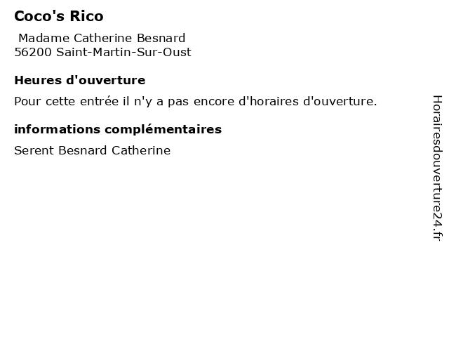 Coco's Rico à Saint-Martin-Sur-Oust: adresse et heures d'ouverture