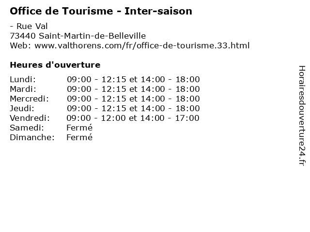 Office de Tourisme - Inter-saison à Saint-Martin-de-Belleville: adresse et heures d'ouverture