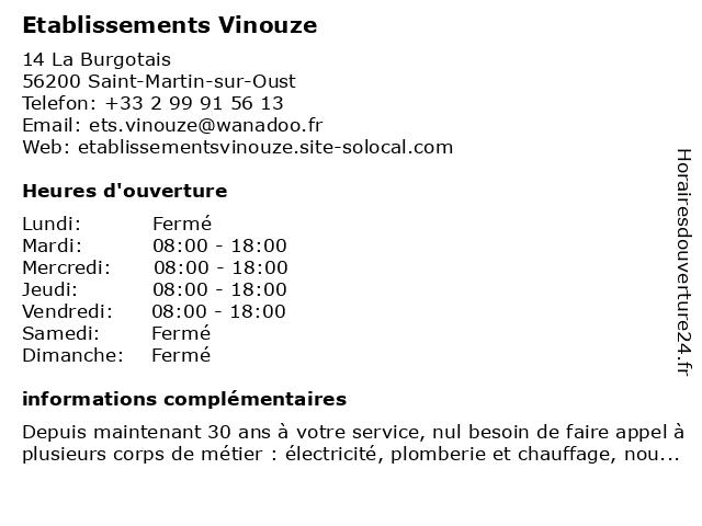 Etablissements Vinouze à Saint-Martin-sur-Oust: adresse et heures d'ouverture