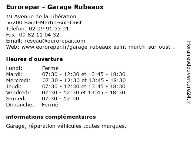 Garage Rubeaux - Euro Repar à Saint-Martin-sur-Oust: adresse et heures d'ouverture
