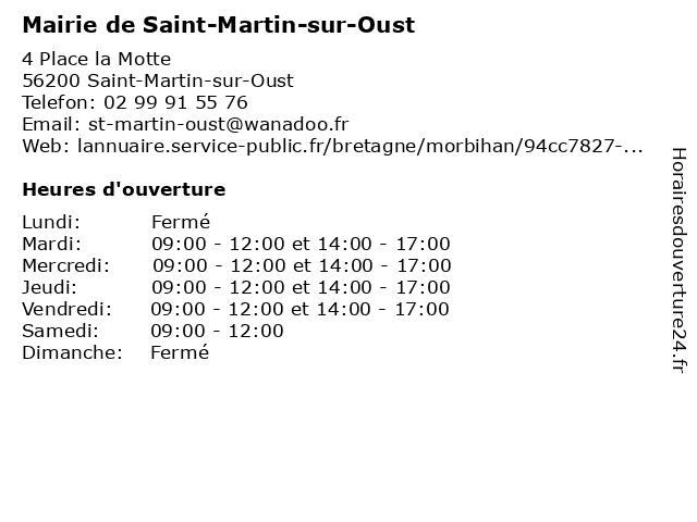 Mairie de Saint-Martin-sur-Oust à Saint-Martin-sur-Oust: adresse et heures d'ouverture