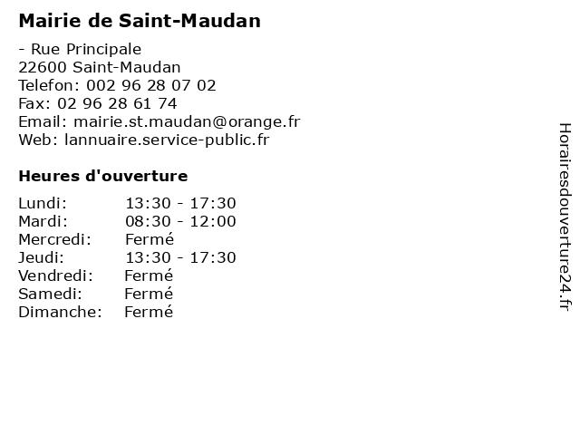 Mairie de Saint-Maudan à Saint-Maudan: adresse et heures d'ouverture