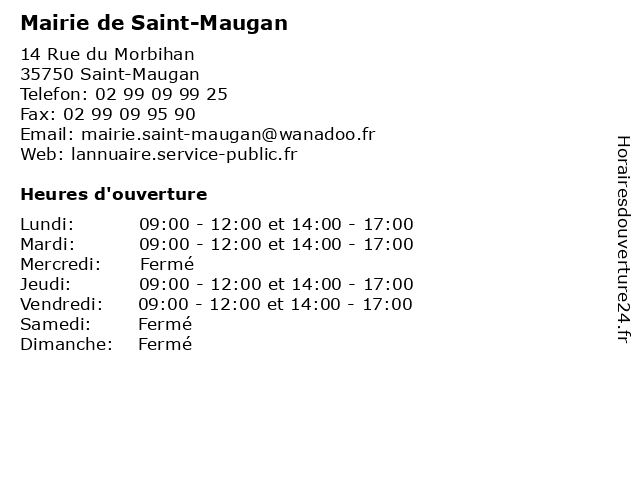 Mairie de Saint-Maugan à Saint-Maugan: adresse et heures d'ouverture