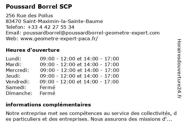 Poussard Borrel SCP à Saint-Maximin-la-Sainte-Baume: adresse et heures d'ouverture