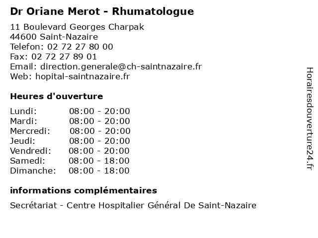 Dr Oriane Merot - Rhumatologue à Saint-Nazaire: adresse et heures d'ouverture