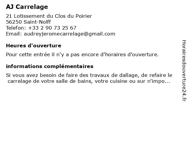 AJ Carrelage à Saint-Nolff: adresse et heures d'ouverture