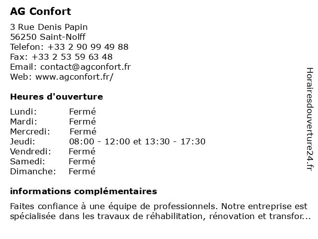 Ag Confort à Saint-Nolff: adresse et heures d'ouverture