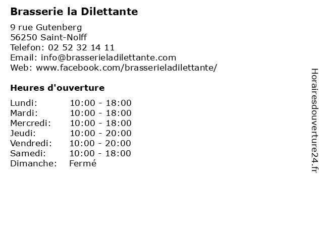 Brasserie la Dilettante à Saint-Nolff: adresse et heures d'ouverture