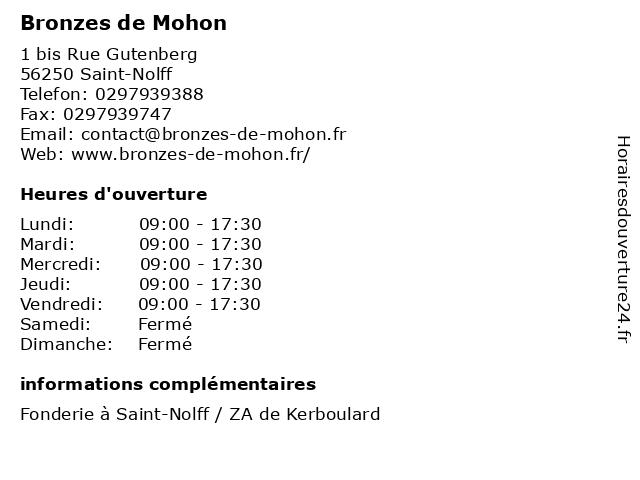 Bronzes de Mohon à Saint-Nolff: adresse et heures d'ouverture