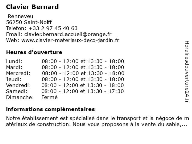 Clavier Bernard à Saint-Nolff: adresse et heures d'ouverture