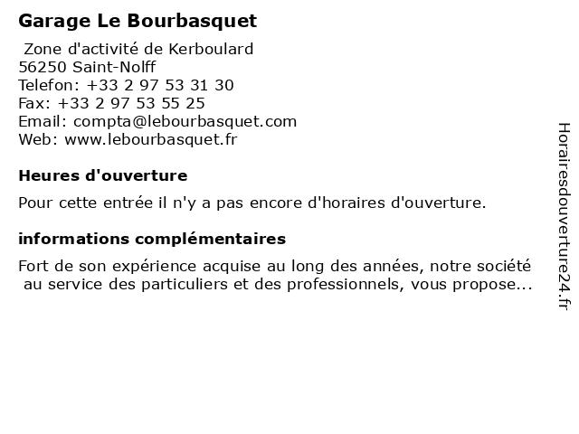 Garage Le Bourbasquet à Saint-Nolff: adresse et heures d'ouverture