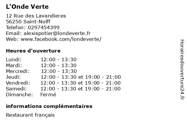 L'Onde Verte à Saint-Nolff: adresse et heures d'ouverture