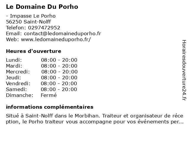 Le Domaine Du Porho à Saint-Nolff: adresse et heures d'ouverture