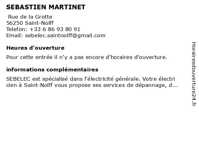 SEBASTIEN MARTINET à Saint-Nolff: adresse et heures d'ouverture