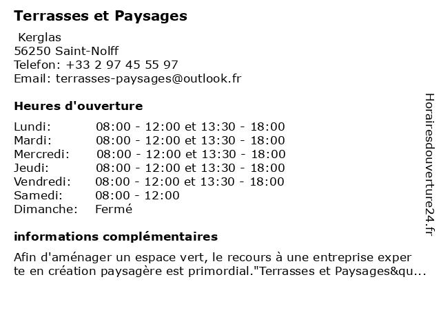 Terrasses et Paysages à Saint-Nolff: adresse et heures d'ouverture