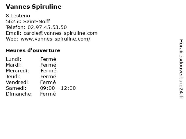 Vannes Spiruline à Saint-Nolff: adresse et heures d'ouverture