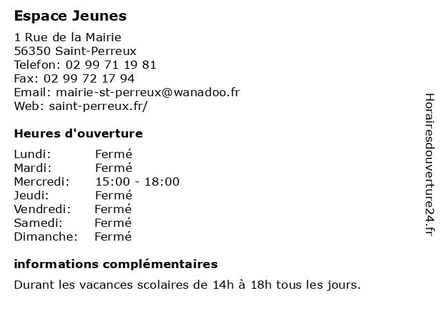 Espace Jeunes à Saint-Perreux: adresse et heures d'ouverture
