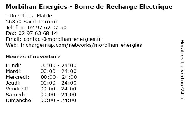 Morbihan Energies - Borne de Recharge Electrique à Saint-Perreux: adresse et heures d'ouverture