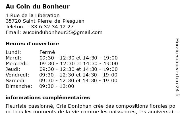 Au Coin du Bonheur à Saint-Pierre-de-Plesguen: adresse et heures d'ouverture