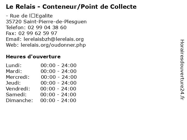 Le Relais - Conteneur/Point de Collecte à Saint-Pierre-de-Plesguen: adresse et heures d'ouverture