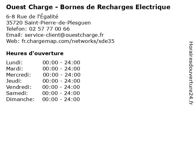 Ouest Charge - Bornes de Recharges Electrique à Saint-Pierre-de-Plesguen: adresse et heures d'ouverture
