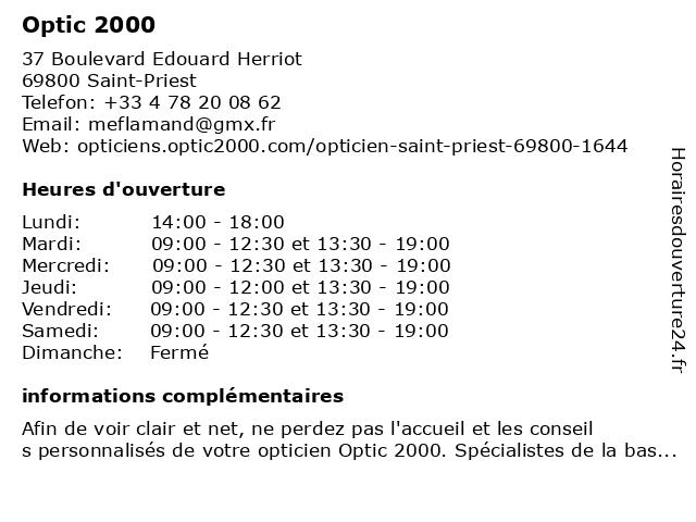 OPTIQUE FLAMAND à Saint-Priest: adresse et heures d'ouverture