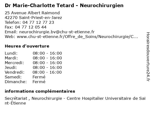 Dr Marie-Charlotte Tetard - Neurochirurgien à Saint-Priest-en-Jarez: adresse et heures d'ouverture