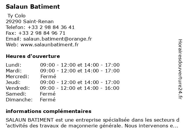 Salaun Batiment à Saint-Renan: adresse et heures d'ouverture