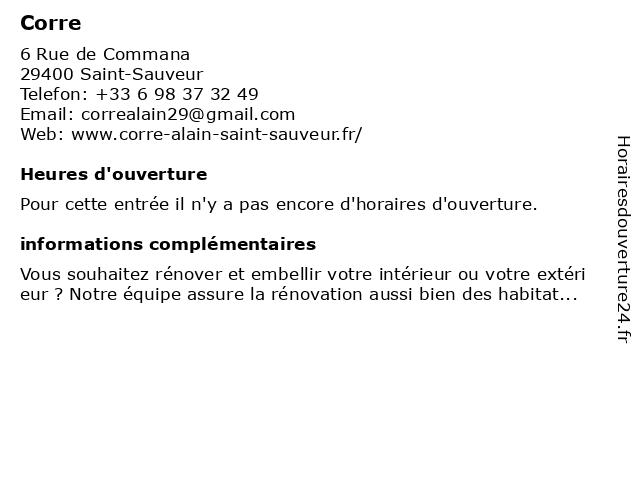 Corre Alain à Saint-Sauveur: adresse et heures d'ouverture