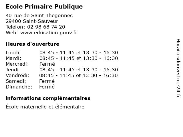 Ecole Primaire Publique à Saint-Sauveur: adresse et heures d'ouverture