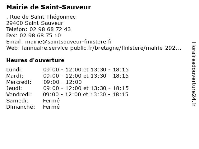 Mairie de Saint-Sauveur à Saint-Sauveur: adresse et heures d'ouverture