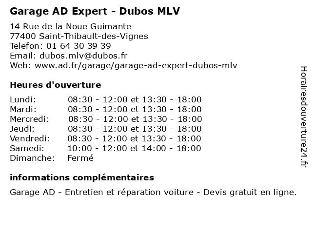 DUBOS MLV à Saint-Thibault-des-Vignes: adresse et heures d'ouverture