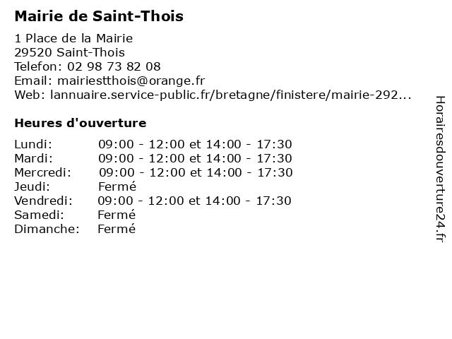 Mairie de Saint-Thois à Saint-Thois: adresse et heures d'ouverture
