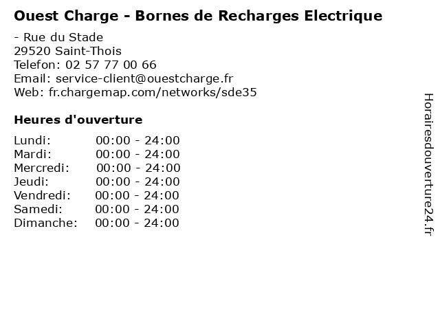 Ouest Charge - Bornes de Recharges Electrique à Saint-Thois: adresse et heures d'ouverture