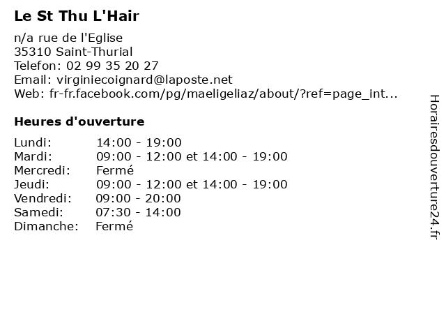 Le St Thu L'Hair à Saint-Thurial: adresse et heures d'ouverture