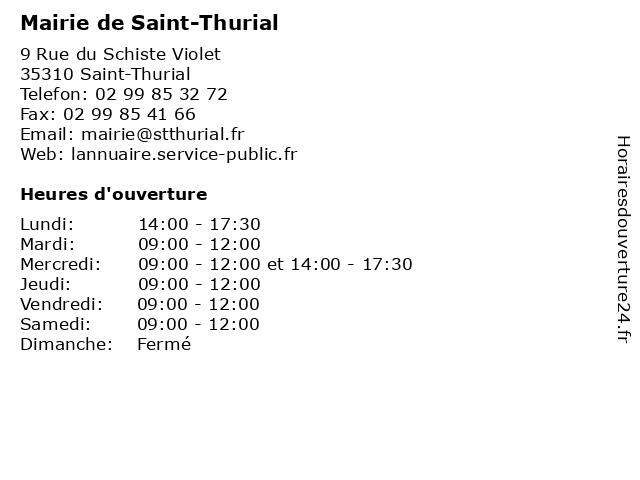 Mairie de Saint-Thurial à Saint-Thurial: adresse et heures d'ouverture