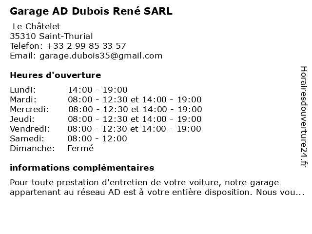 SARL DUBOIS RENE à Saint-Thurial: adresse et heures d'ouverture