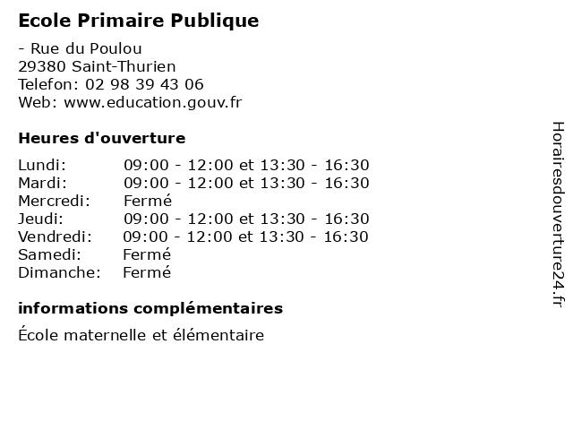 Ecole Primaire Publique à Saint-Thurien: adresse et heures d'ouverture