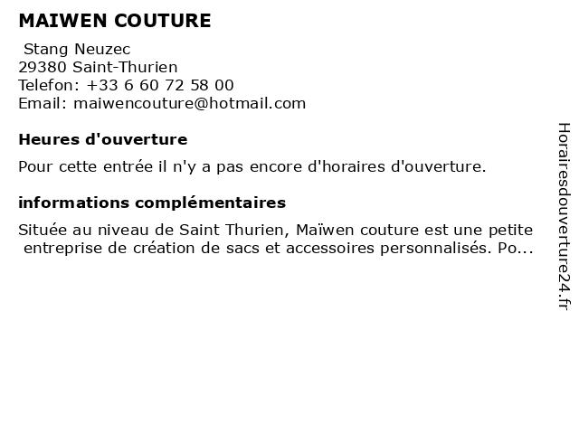 MAIWEN COUTURE à Saint-Thurien: adresse et heures d'ouverture