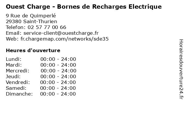 Ouest Charge - Bornes de Recharges Electrique à Saint-Thurien: adresse et heures d'ouverture