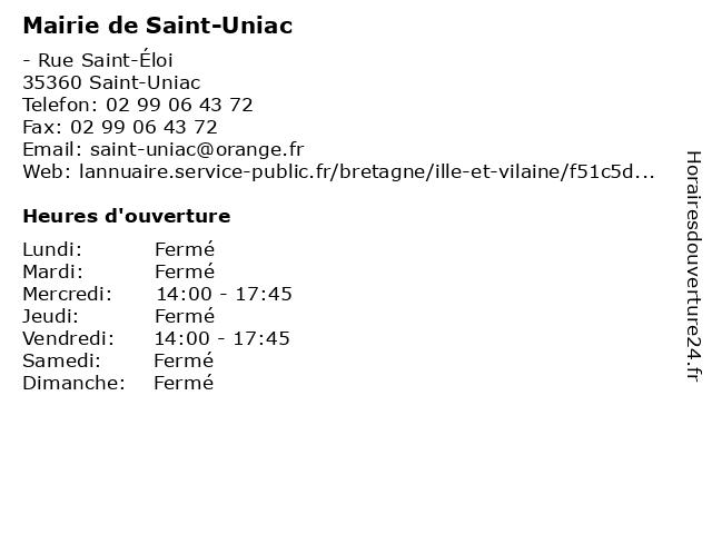 Mairie de Saint-Uniac à Saint-Uniac: adresse et heures d'ouverture