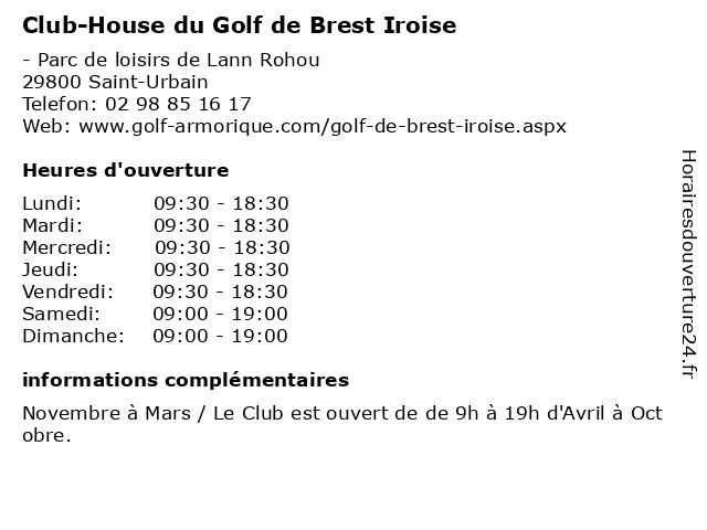 Club-House du Golf de Brest Iroise à Saint-Urbain: adresse et heures d'ouverture