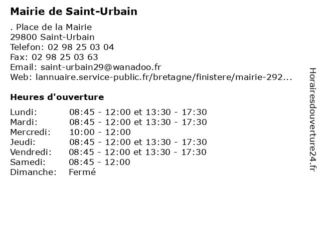 Mairie de Saint-Urbain à Saint-Urbain: adresse et heures d'ouverture